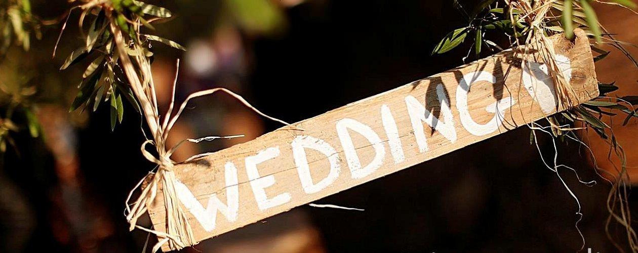 Rustic wedding scene Puglia Italy